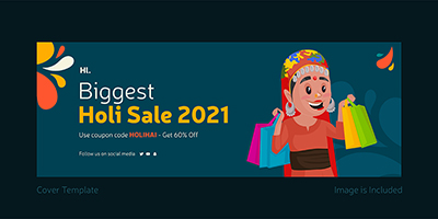 Biggest holi sale with coverpage template