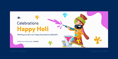 Celebrations happy Holi template cover