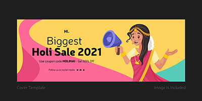 Cover page template design of biggest holi sale