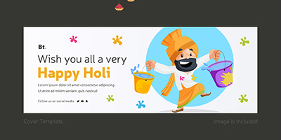 Cover page template for happy holi wishes