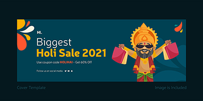 Cover template design of biggest holi sale