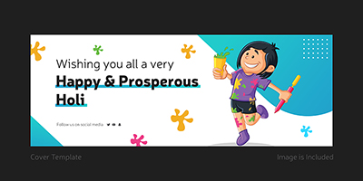 Cover template of happy and prosperous holi