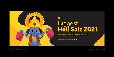 Coverpage template design of biggest holi sale