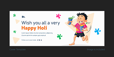 Facebook cover page template of happy holi