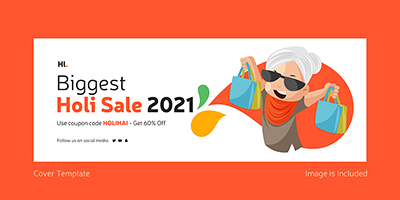 Facebook cover template of biggest holi sale