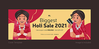 Facebook coverpage template of biggest holi sale