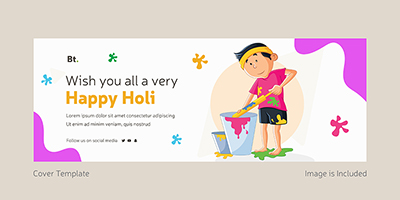 Facebook coverpage template of happy holi