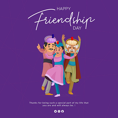 Flat banner template of happy friendship -05 small