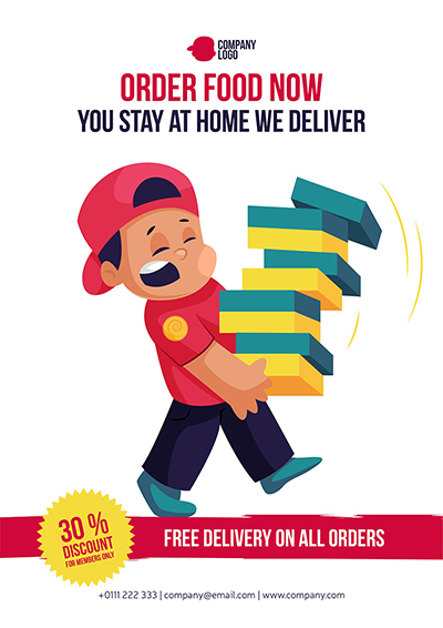 Flyer template for free food delivery on all orders