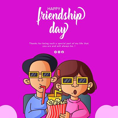 Happy friendship day celebration template design
