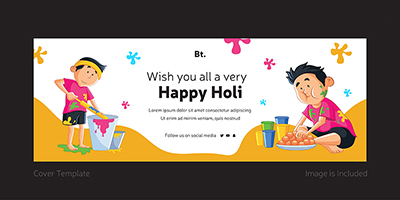 Happy holi template coverpage design
