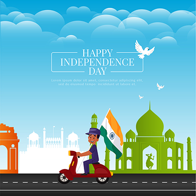 Happy independence day illustration banner design template