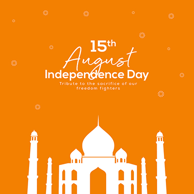 Independence day on 15 august banner design template