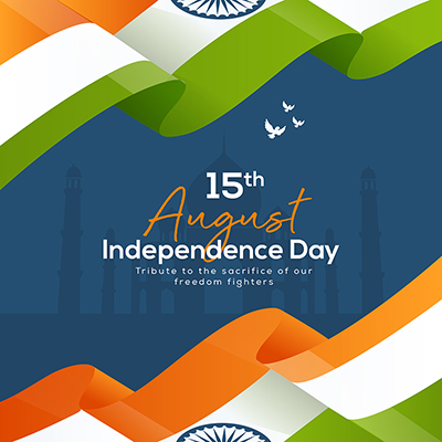 Independence day on 15 august banner template design