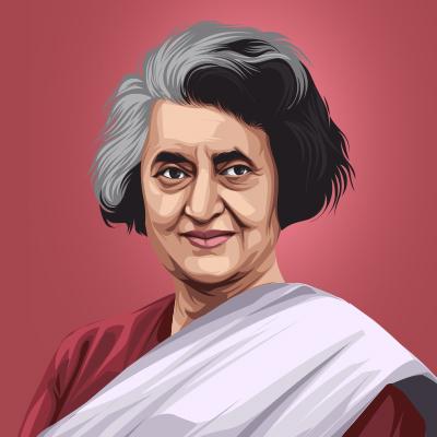Indira Gandhi Former Prime Minister of India Vector Illustration