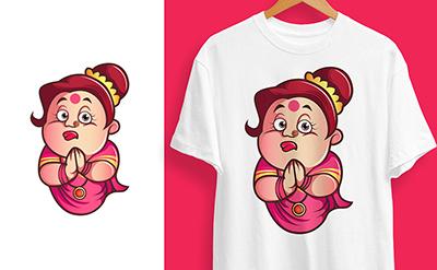 Iyer aunty welcome t-shirt design illustration