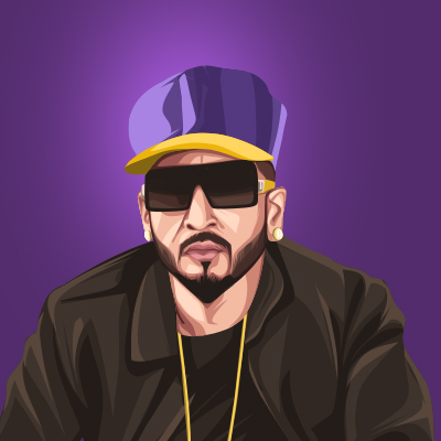 Jazzy B Canadian-Indian Playback Singer Vector Illustration