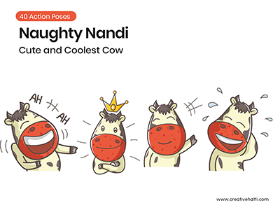Naughty Nandi- Cute and Coolest Cow Vector Bundle