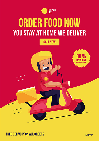 Order food now online delivery service flyer template