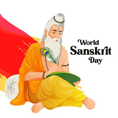 Template banner for world Sanskrit day celebration