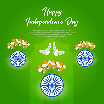 Template banner of happy independence day of India