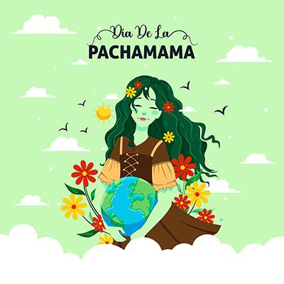 Template design banner of dia de la pachamama