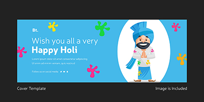 Wish you all a very happy holi template cover