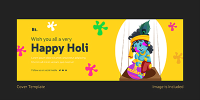 Wish you all a very happy holi template cover design
