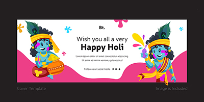 Wish you all a very happy holi template coverpage