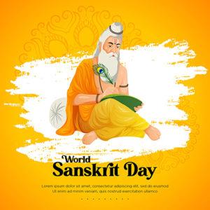 World sanskrit day celebration template banner design 3 small