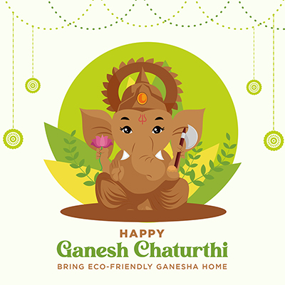 Banner of happy ganesh chaturthi with template