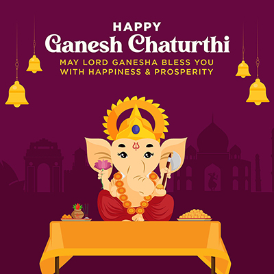 Banner of happy ganesh chaturthi with template design