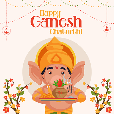 Banner of happy ganesh chaturthi on template design