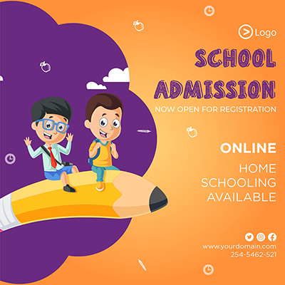 Banner template for school admission now open for registration