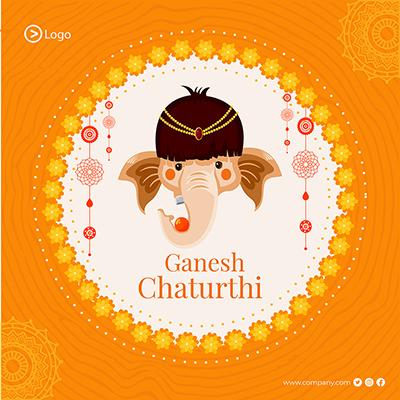 Banner template of Ganesh Chaturthi celebration