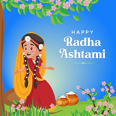 Banner template of happy Radha ashtami