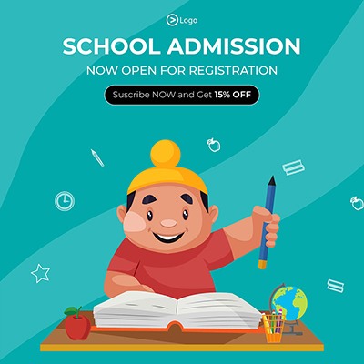 Banner template of school admission now open for registration
