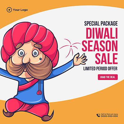 Banner template of special package on Diwali season sale