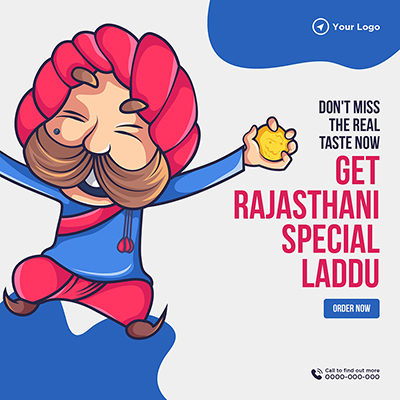 Banner template with get Rajasthani special laddu