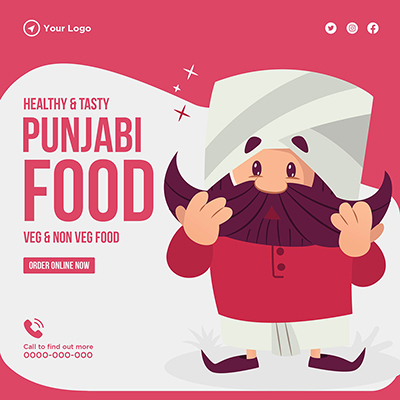 Banner template with healthy and tasty Punjabi food