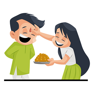 Brother and sister celebrating Bhai Dooj