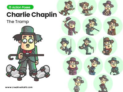 Charlie Chaplin- The Tramp Character Vector Bundle