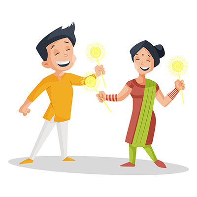 Couple is holding sparklers in hands