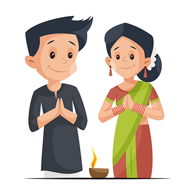 Couple is worshiping on Diwali festival