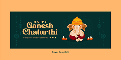 Cover design template of happy ganesh chaturthi