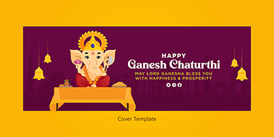 Cover page template of happy ganesh chaturthi