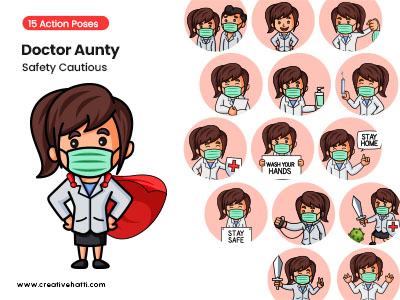 Doctor Aunty- Safety Cautious Vector Bundle