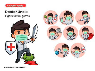 Doctor Uncle- Fights 99.9% Germs Vector Bundle