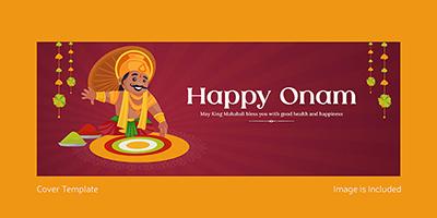 Facebook cover template design of happy Onam