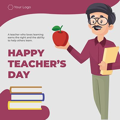 Flat banner design of happy teacher's day template